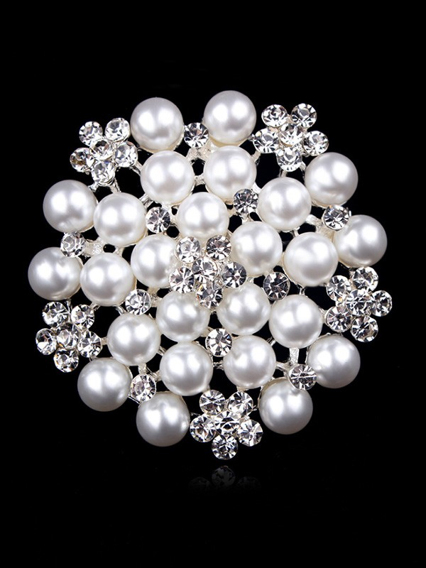 Attractive Alloy With Rhinestone/Imitation Pearl Ladies Brooch