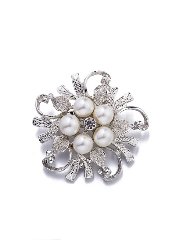 Brilliant Alloy With Imitation Pearl Ladies Brooch