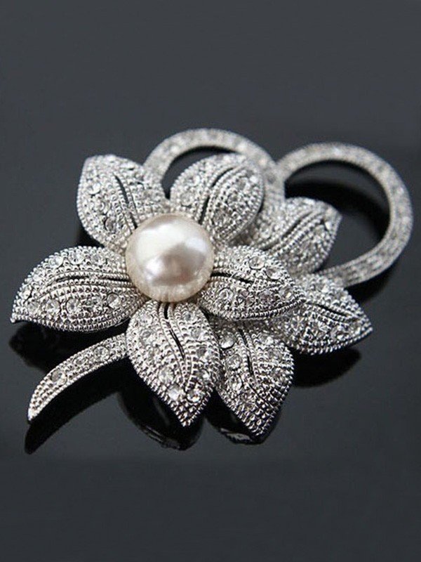 Fancy Alloy With Crystal/Imitation Pearl Ladies Brooch