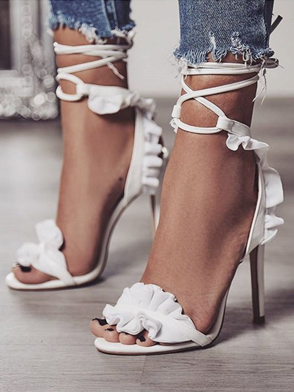 Women's PU Lace Up Stiletto Heel Peep Toe Sandals