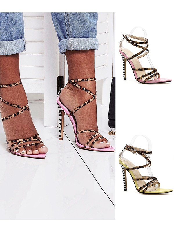 Women's Peep Toe Suede With Buckle Stiletto Heel Sandals