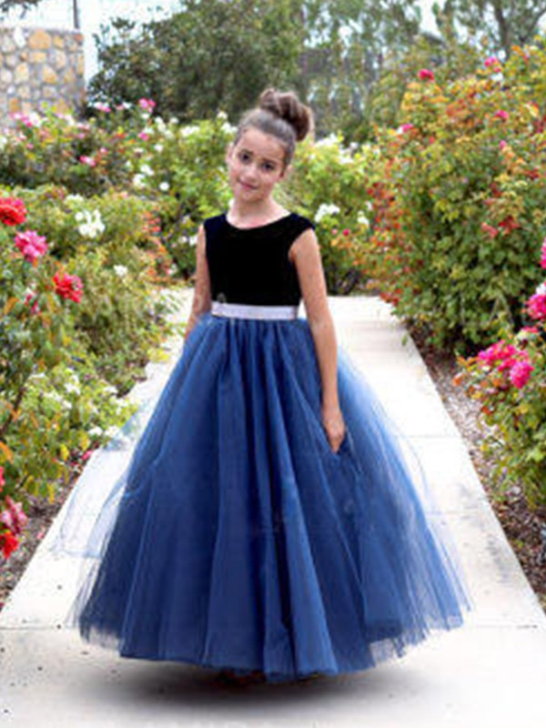Royal Blue Tulle Scoop A-Line/Princess Ankle-Length Flower Girl Dresses
