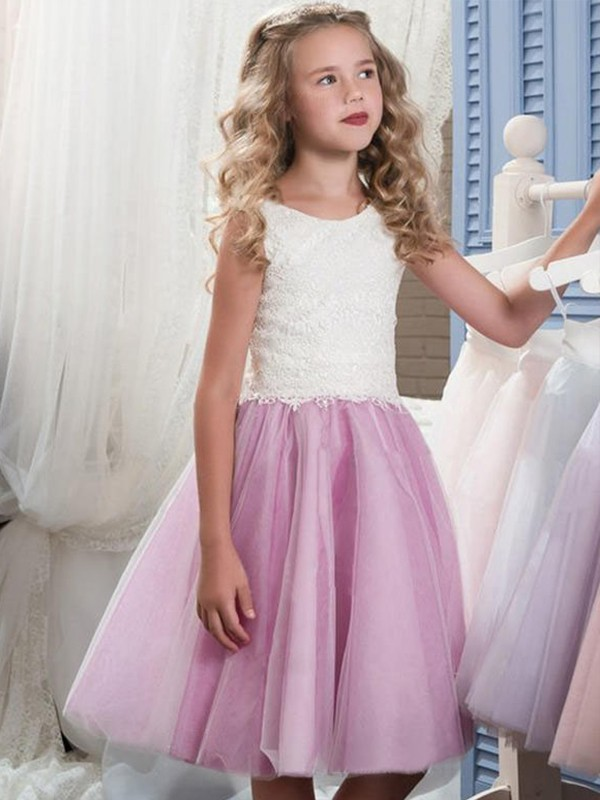 Lilac Tulle Scoop A-Line/Princess Knee-Length Flower Girl Dresses