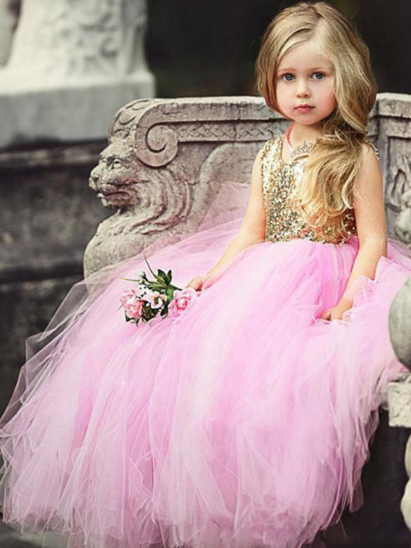 Pink Tulle Scoop Ball Gown Floor-Length Flower Girl Dresses