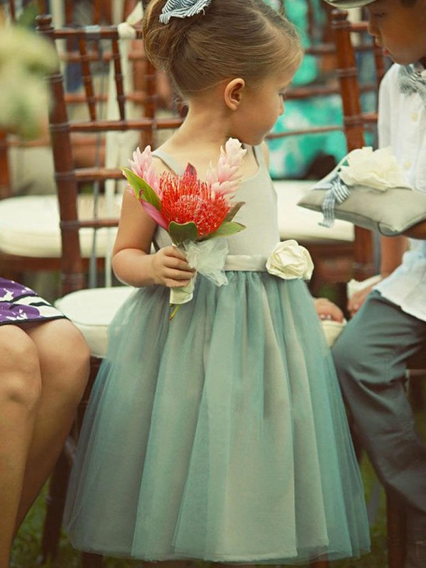 Green Tulle Square A-Line/Princess Tea-Length Flower Girl Dresses