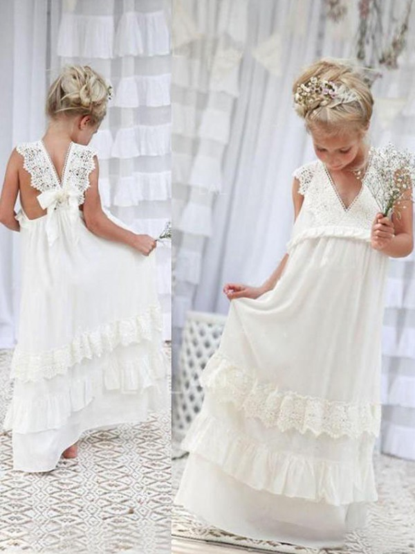 Ivory Chiffon V-neck Empire Floor-Length Flower Girl Dresses