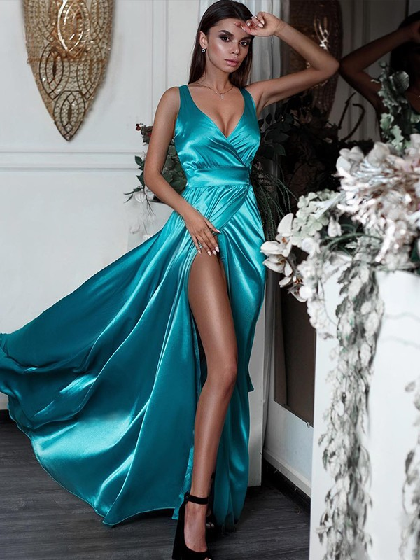 Blue Satin V-neck A-Line/Princess Floor-Length Dresses