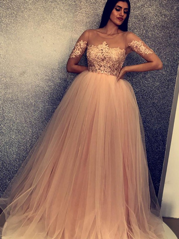 Brown Tulle Scoop Ball Gown Sweep/Brush Train Dresses