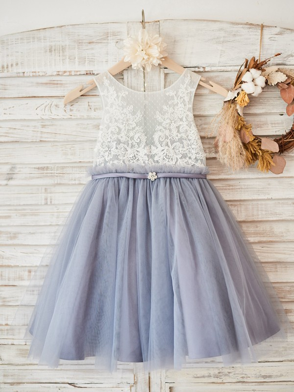 Lavender Tulle Scoop A-Line/Princess Knee-Length Flower Girl Dresses