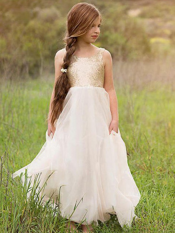 Ivory Tulle Scoop A-Line/Princess Floor-Length Flower Girl Dresses
