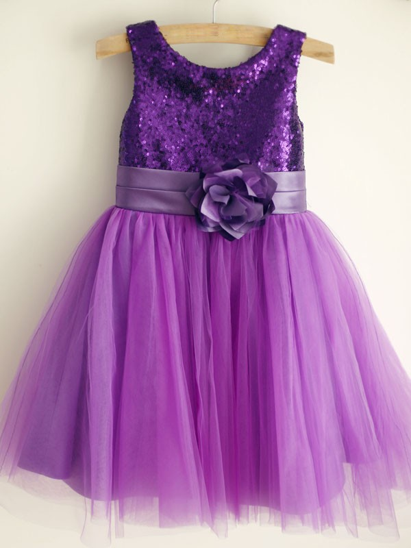 Grape Tulle Scoop A-Line/Princess Knee-Length Flower Girl Dresses