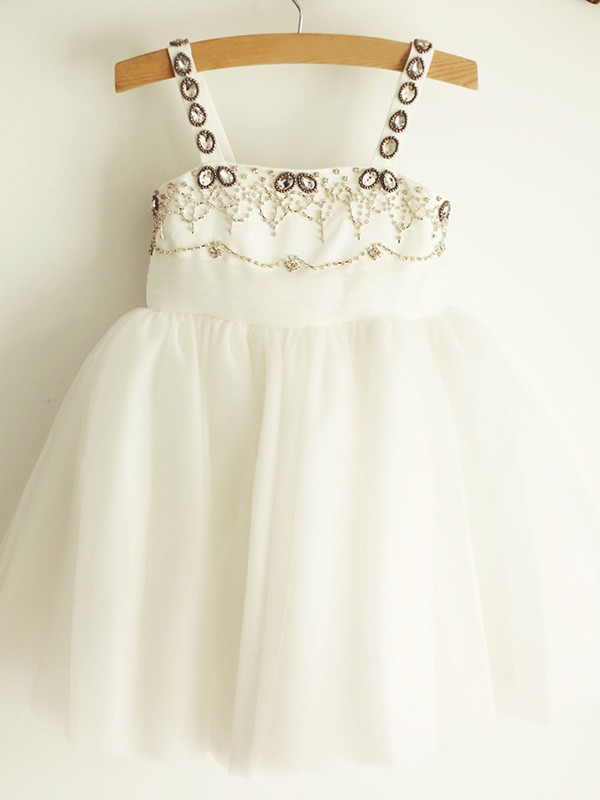 White Tulle Straps A-Line/Princess Knee-Length Flower Girl Dresses