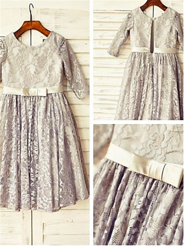 Silver Lace Scoop A-line/Princess Tea-Length Flower Girl Dresses