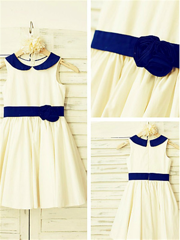 Ivory Satin Scoop A-line/Princess Tea-Length Flower Girl Dresses