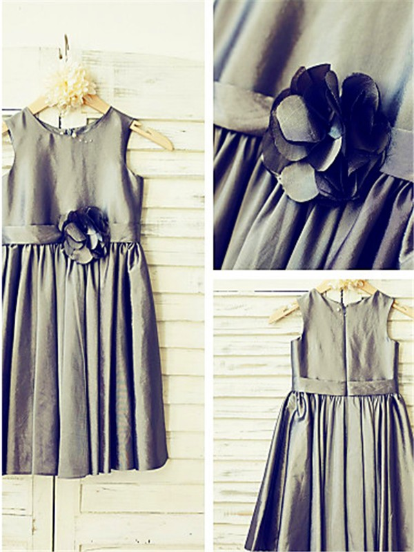 Grey Satin Scoop A-line/Princess Tea-Length Flower Girl Dresses