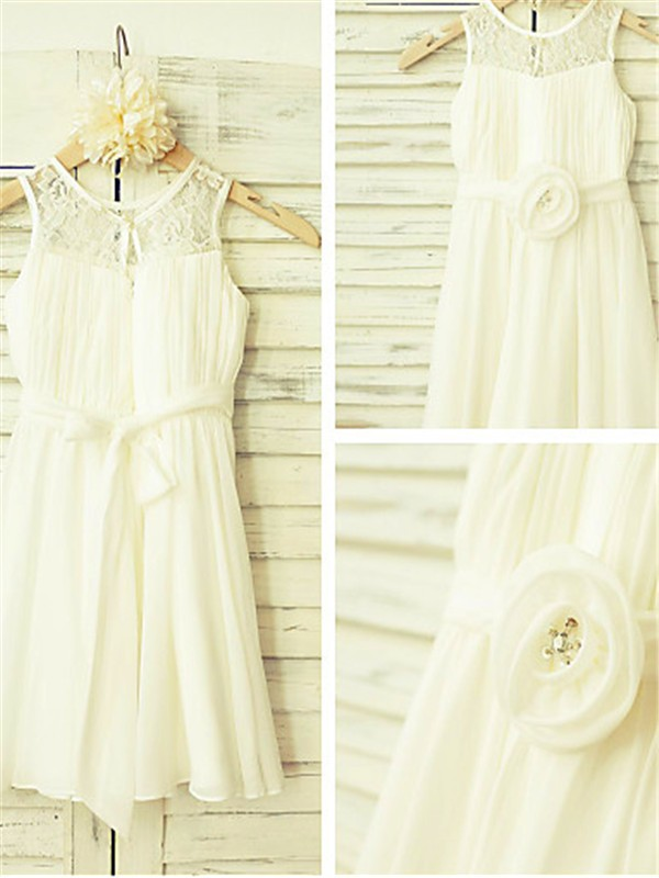 Ivory Chiffon Scoop A-line/Princess Tea-Length Flower Girl Dresses
