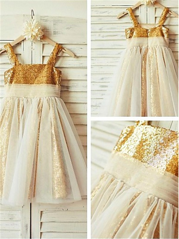 Sequins Spaghetti Straps A-line/Princess Tea-Length Flower Girl Dresses