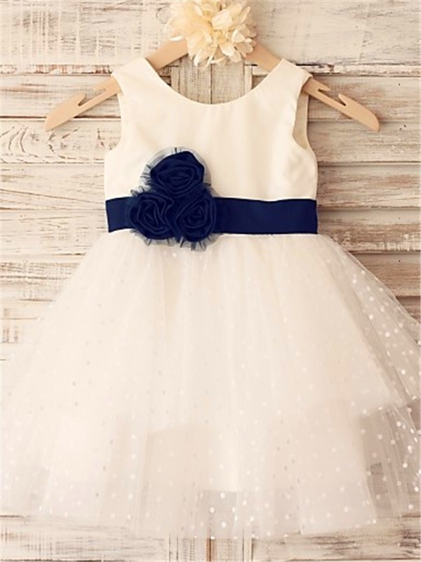 Ivory Organza Scoop A-line/Princess Tea-Length Flower Girl Dresses