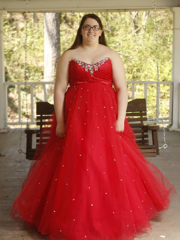 Red Organza Sweetheart Ball Gown Floor-Length Plus Size Dresses