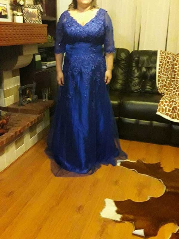 Royal Blue Tulle V-neck A-Line/Princess Floor-Length Mother of the Bride Dresses