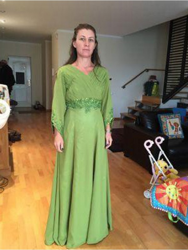 Green Chiffon V-neck A-Line/Princess Floor-Length Mother of the Bride Dresses
