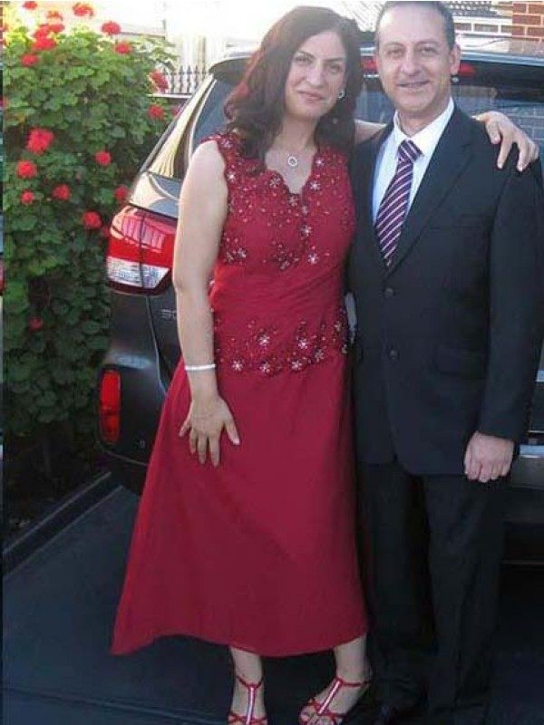 Red Chiffon V-neck A-Line/Princess Ankle-Length Mother of the Bride Dresses