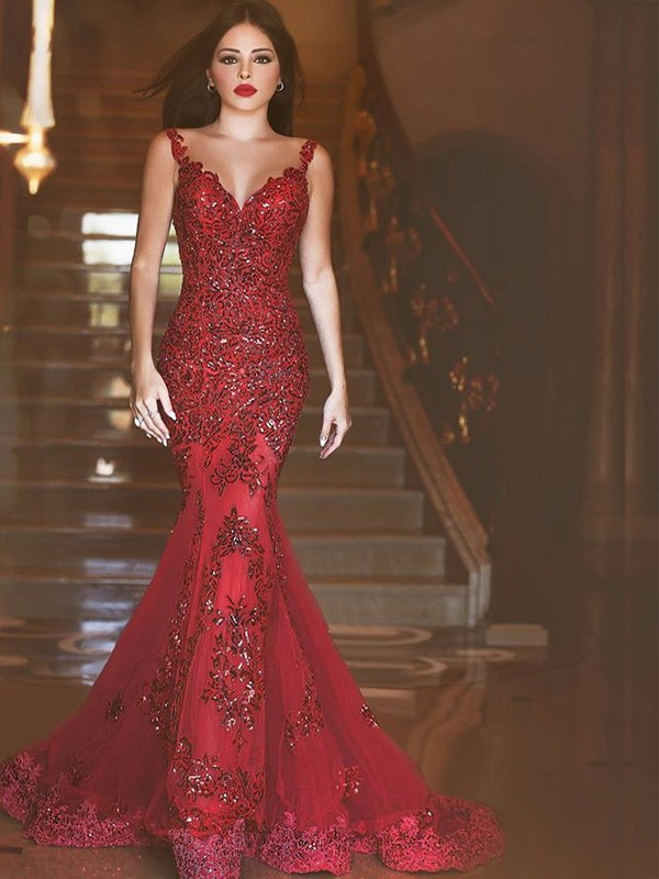 Red Tulle V-neck Trumpet/Mermaid Sweep/Brush Train Prom Dresses