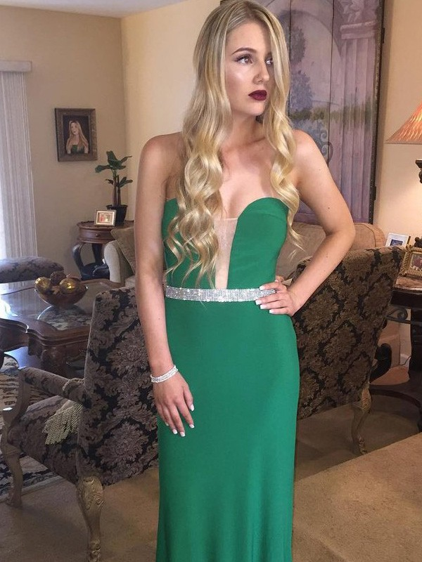 Dark Green Satin Sweetheart Sheath/Column Floor-Length Prom Dresses
