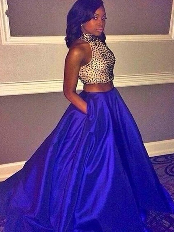 Royal Blue Taffeta Halter Ball Gown Sweep/Brush Train Prom Dresses