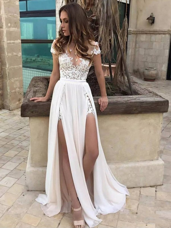 White Chiffon V-neck A-Line/Princess Sweep/Brush Train Wedding Dresses