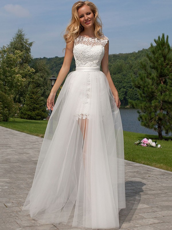 White Tulle Scoop Sheath/Column Floor-Length Wedding Dresses