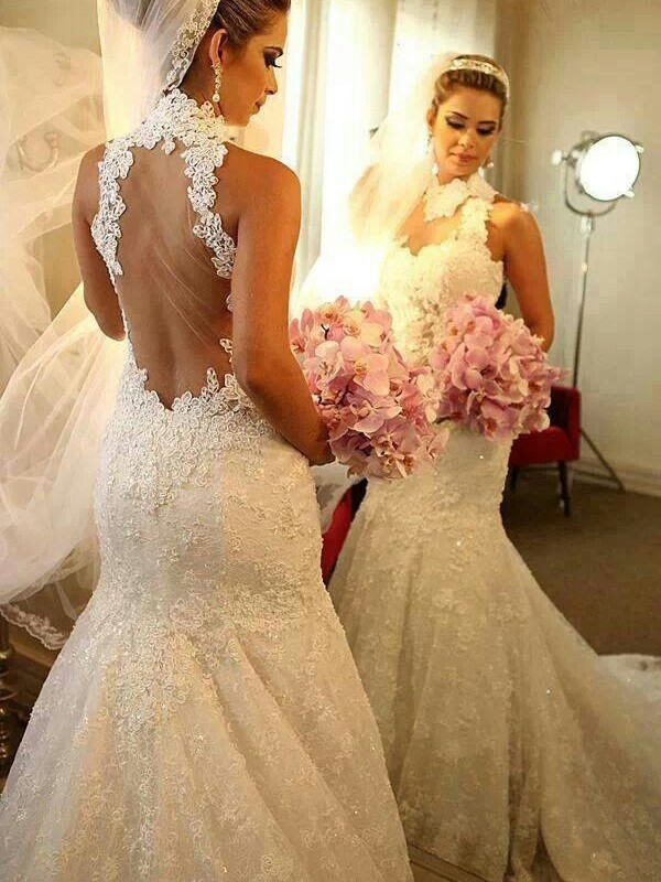 White Lace High Neck Trumpet/Mermaid Court Train Wedding Dresses