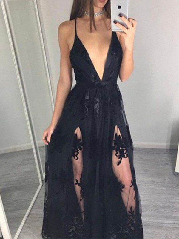 Black Tulle Spaghetti Straps A-Line/Princess Floor-Length Prom Dresses