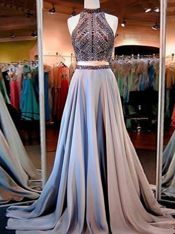 Blue Satin High Neck A-Line/Princess Floor-Length Prom Dresses