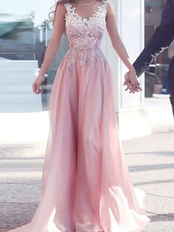 Pink Chiffon Sweetheart A-Line/Princess Floor-Length Prom Dresses