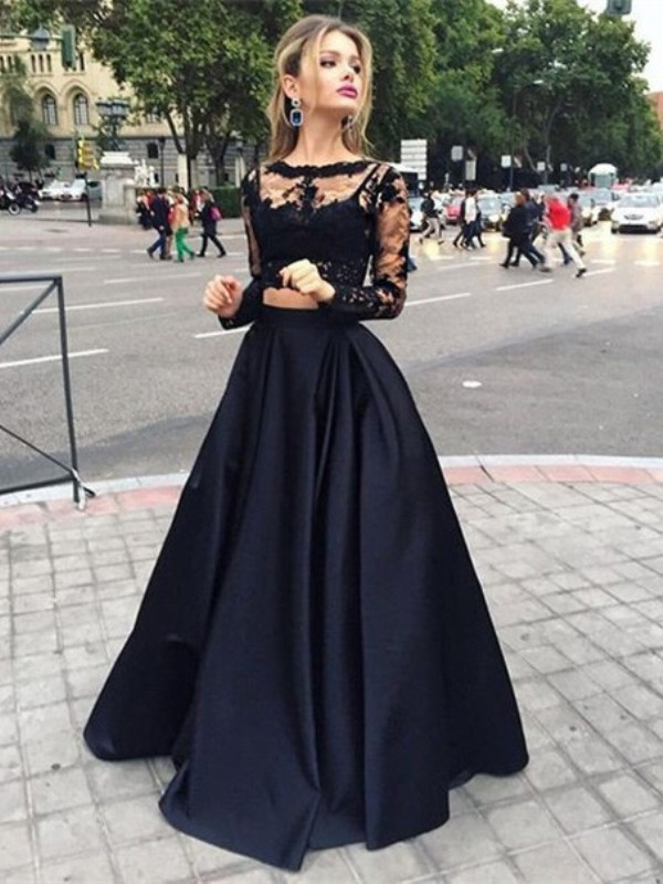 Black Satin Bateau Ball Gown Floor-Length Prom Dresses