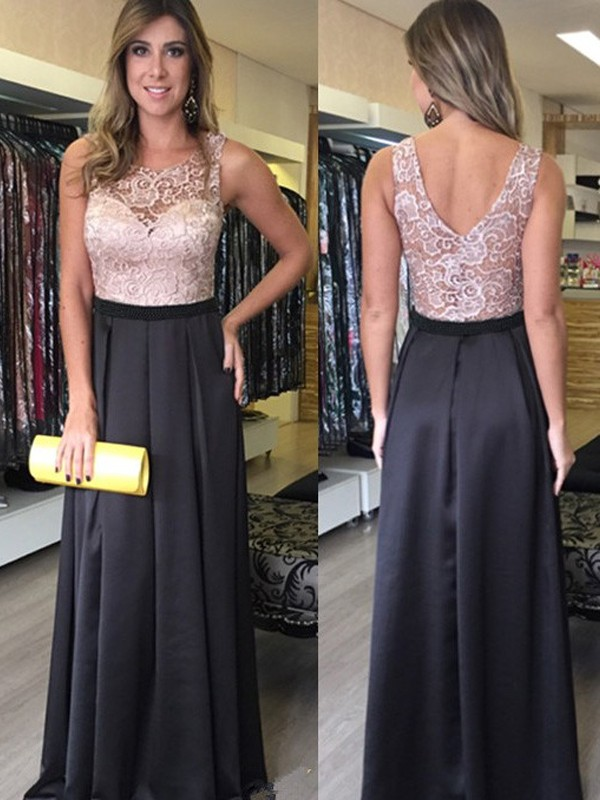 Black Satin Scoop A-Line/Princess Floor-Length Prom Dresses