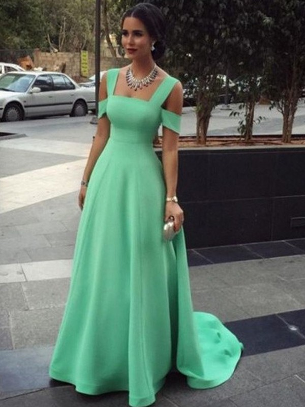 Blue Satin Straps A-Line/Princess Floor-Length Prom Dresses