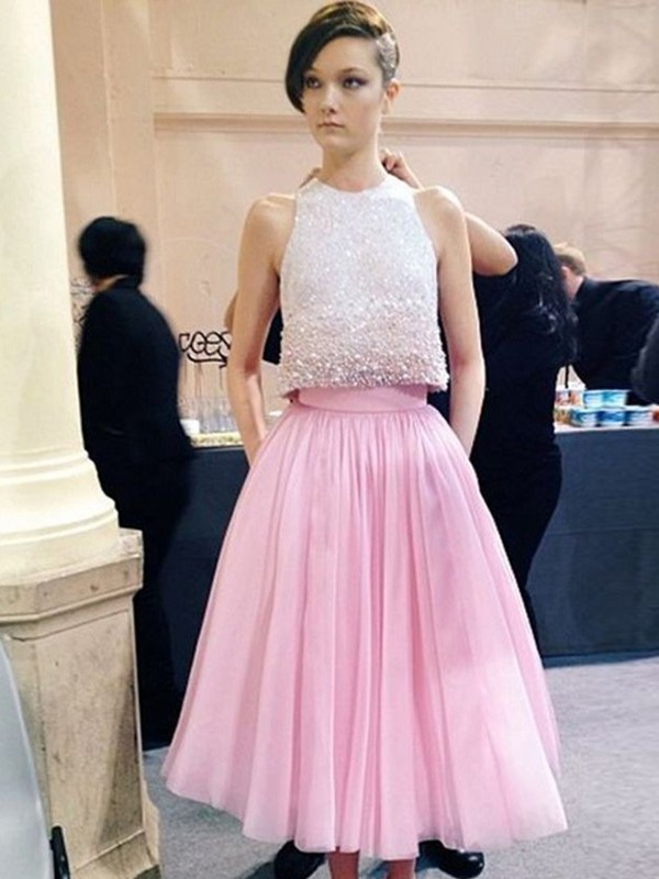 Pink Tulle Scoop A-Line/Princess Tea-Length Prom Dresses