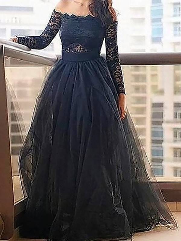 Black Tulle Off-the-Shoulder A-Line/Princess Floor-Length Prom Dresses
