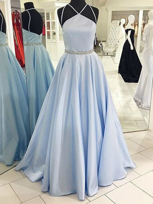 Light Sky Blue Satin Halter A-Line/Princess Floor-Length Prom Dresses