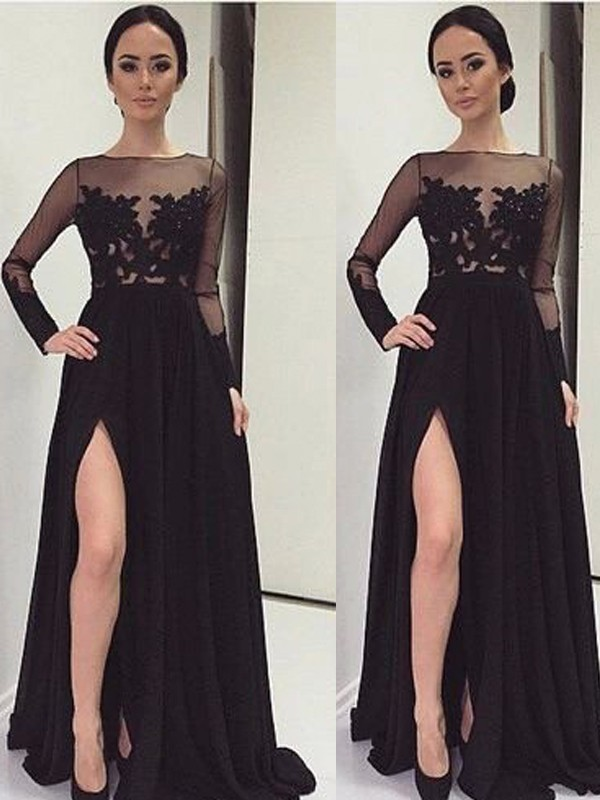 Black Chiffon Bateau A-Line/Princess Floor-Length Prom Dresses