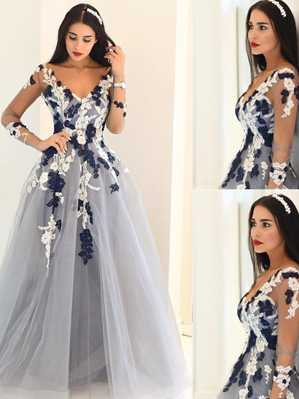 Silver Tulle V-Neck A-Line/Princess Floor-Length Prom Dresses