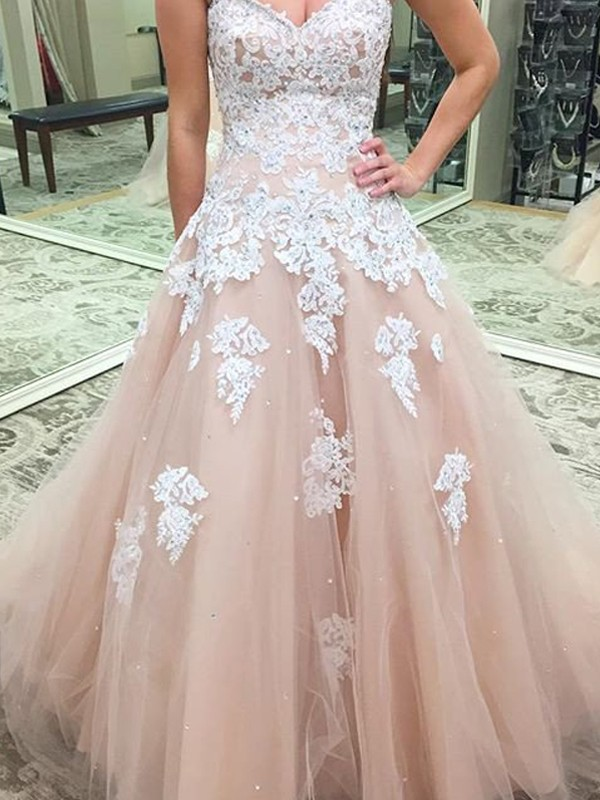 Pink Tulle Sweetheart Ball Gown Floor-Length Prom Dresses