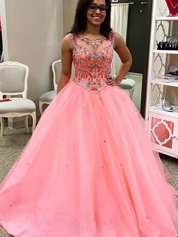 Watermelon Tulle Sweetheart Ball Gown Floor-Length Prom Dresses