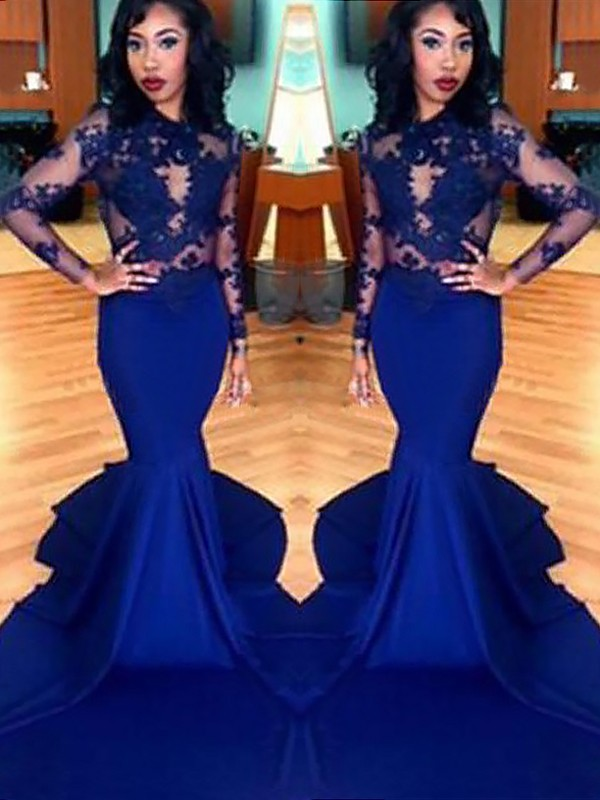 Royal Blue Satin Scoop Trumpet/Mermaid Sweep/Brush Train Prom Dresses