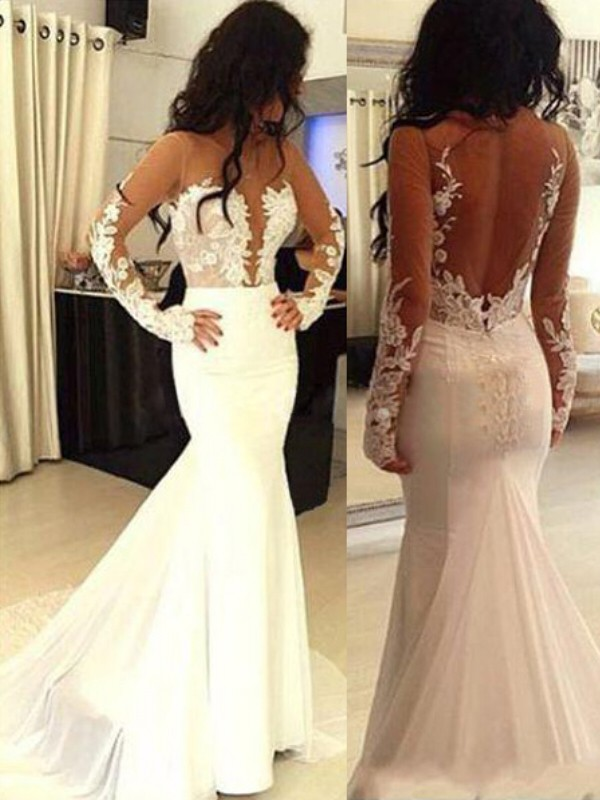 White Chiffon Scoop Trumpet/Mermaid Sweep/Brush Train Prom Dresses