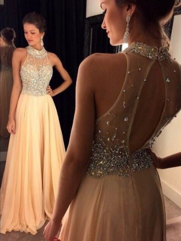 Champagne Chiffon High Neck A-Line/Princess Sweep/Brush Train Dresses