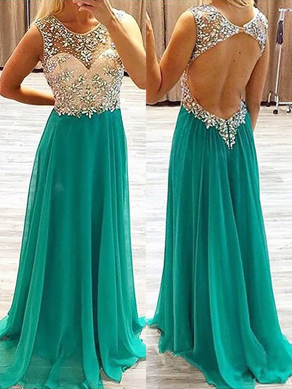 Hunter Green Chiffon Sheer Neck A-Line/Princess Sweep/Brush Train Dresses