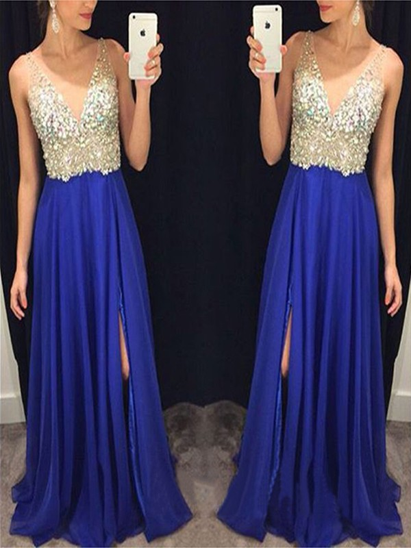 Royal Blue Chiffon V-neck A-Line/Princess Sweep/Brush Train Dresses